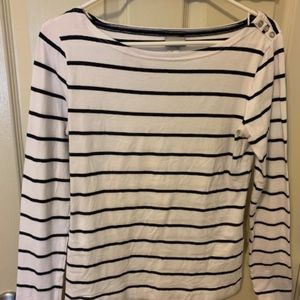 H&M Nautical Long Sleeve T with Button Accent